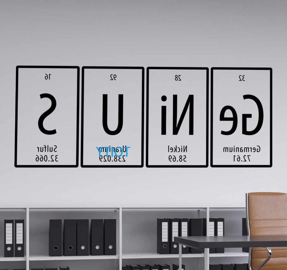 Genius Quote Periodic Table Wall Vinyl Decal Room Sticker Decor Art With Widely Used Periodic Table Wall Art (View 6 of 20)