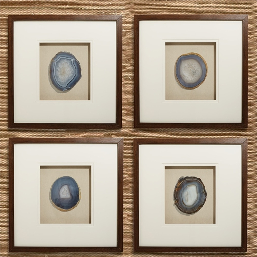 Genuine Geode And Agate Wall Art Set Of 4Tozai Home – Seven Colonial Inside Newest Agate Wall Art (View 11 of 20)