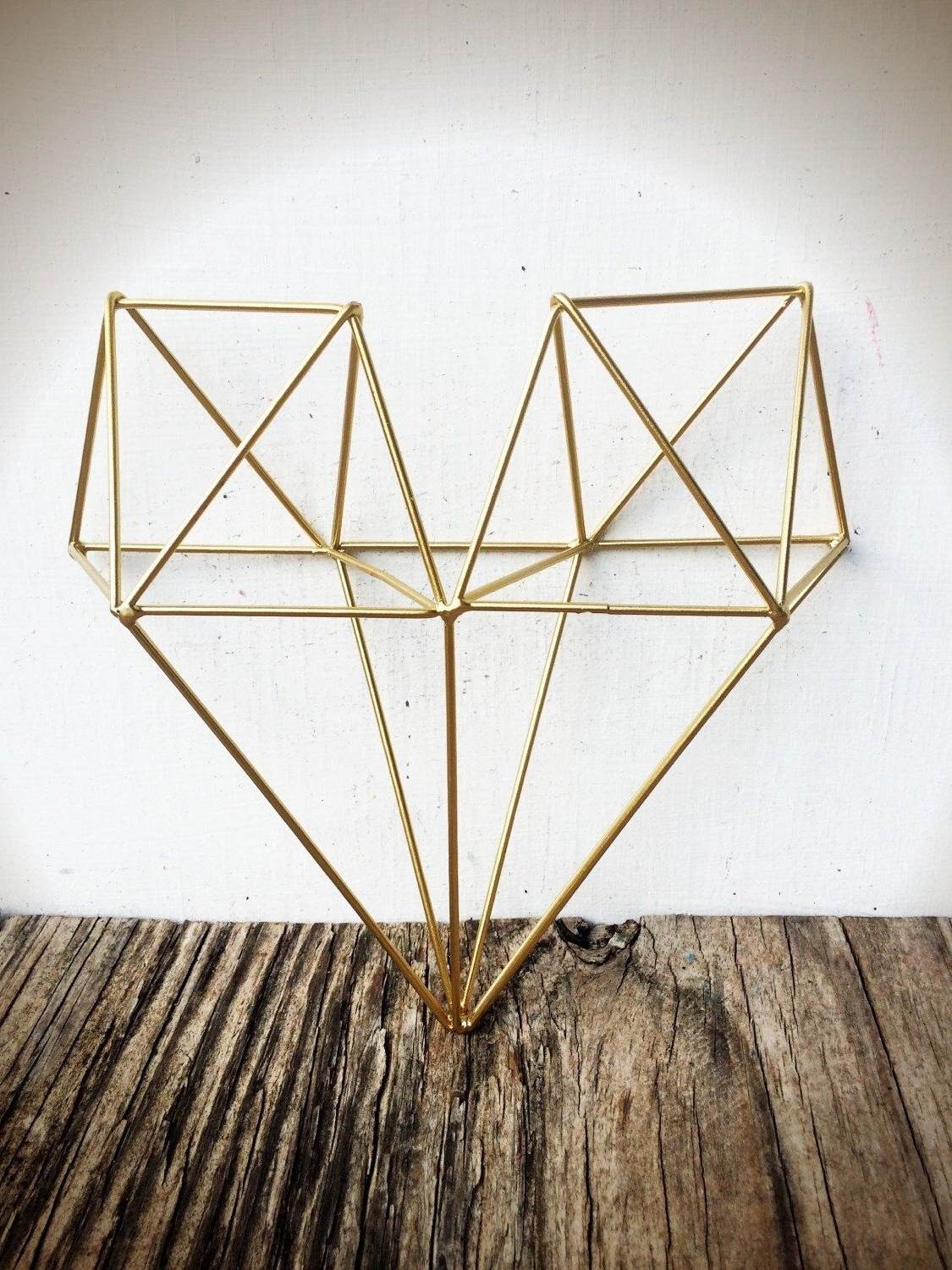 Geometric Metal Wall Art With Best And Newest Bold 3D Geometric Metal Heart Wall Art // Metallic Gold Leaf (Gallery 15 of 20)