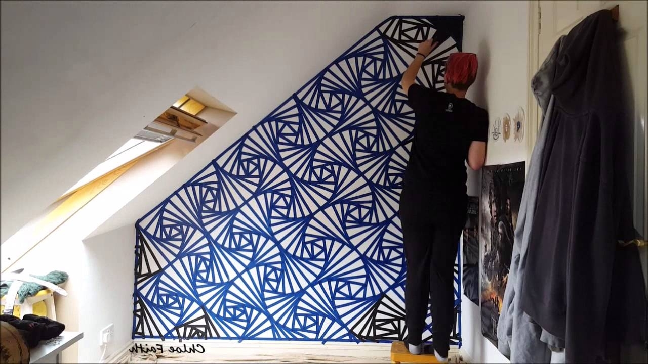Geometric Wall Art With Regard To Popular Geometric Wall Art Paint – Chloe Faith – Youtube (Gallery 15 of 20)