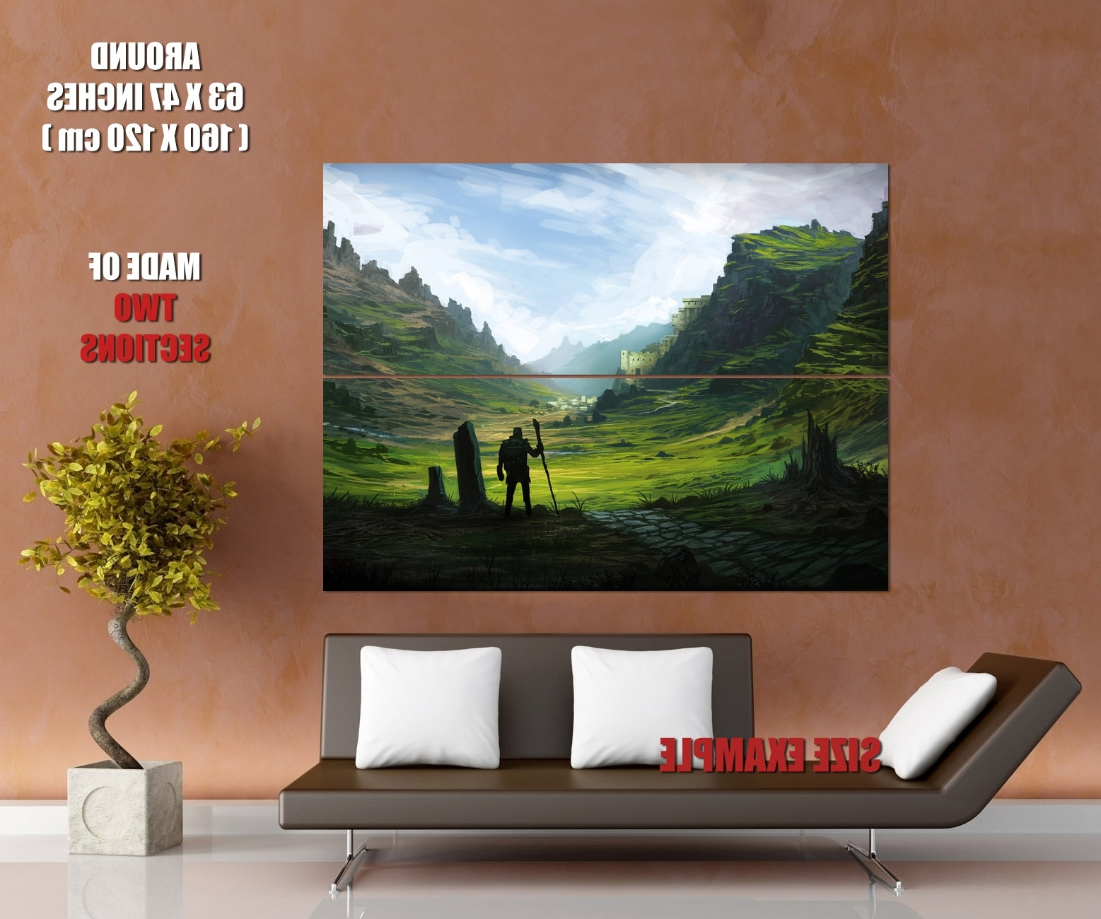 Giant Wall Art Pertaining To Trendy Pilgrim Traveler Epic Fantasy Painting Landscape Art Giant Wall (View 10 of 20)