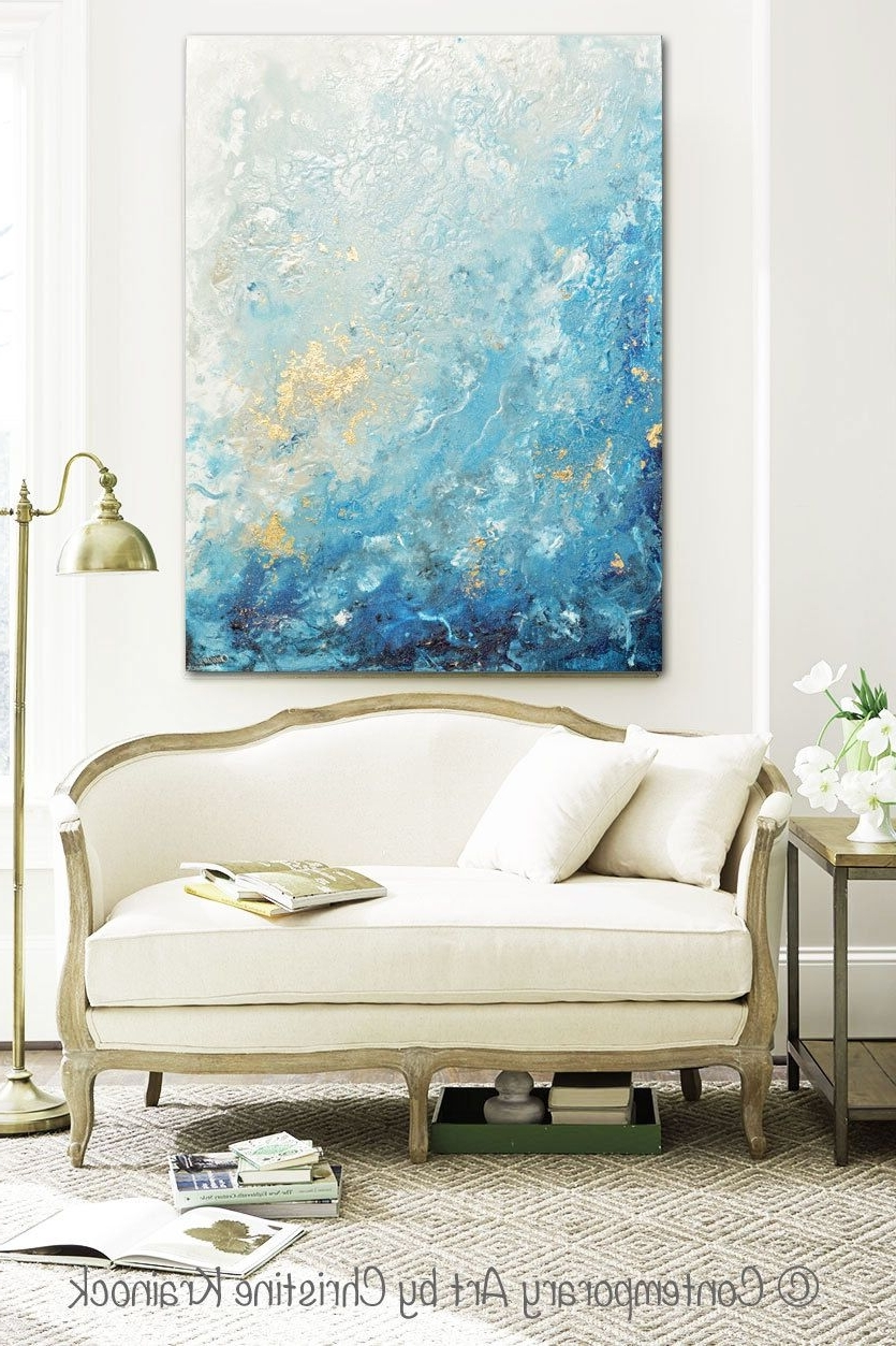 Giclee Print Large Art Abstract Painting Blue White Wall Art Home Throughout Fashionable Large Coastal Wall Art (View 2 of 20)