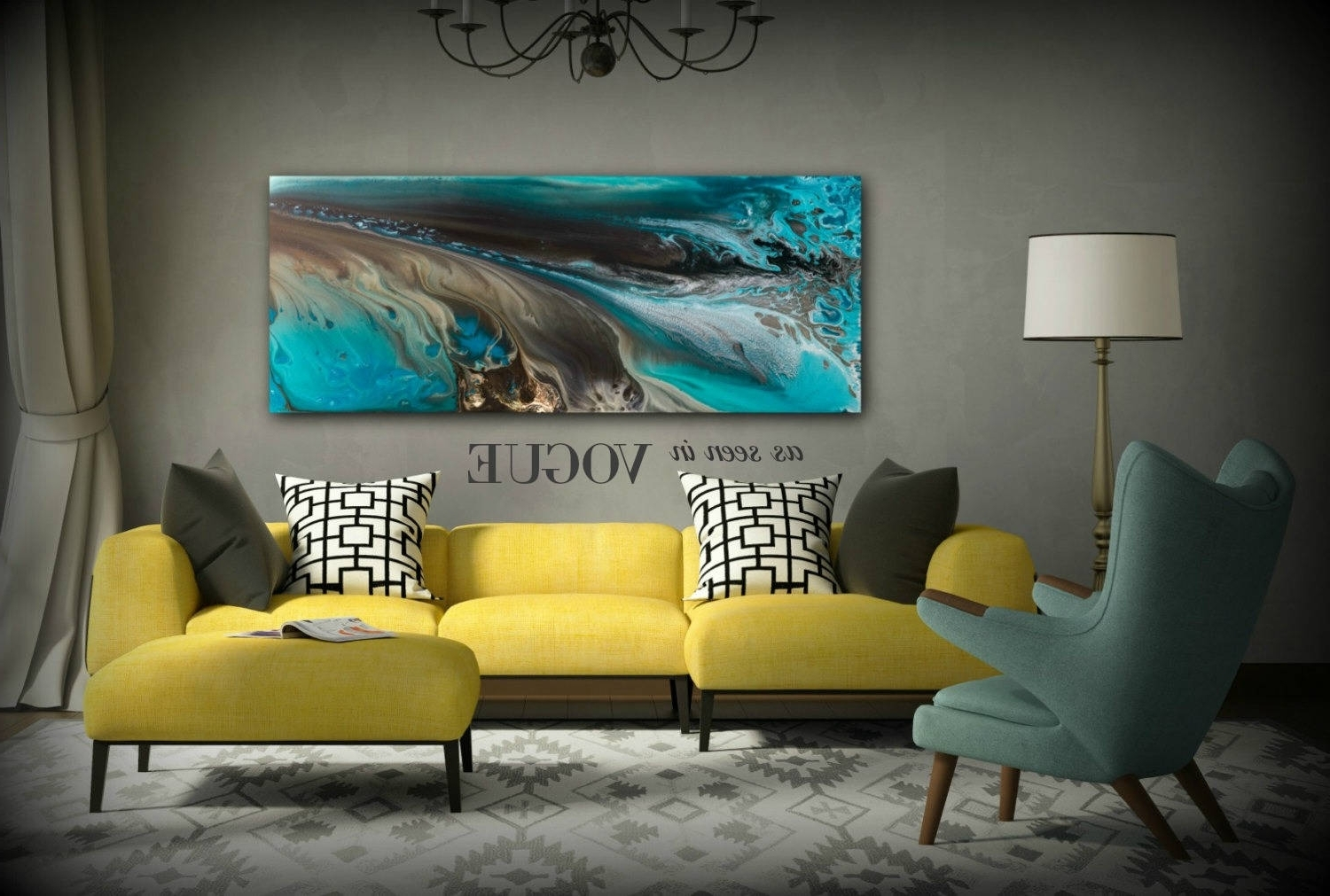 Giclee Prints Art Abstract Painting Coastal Home Decor Modern Canvas Regarding Fashionable Large Coastal Wall Art (View 10 of 20)