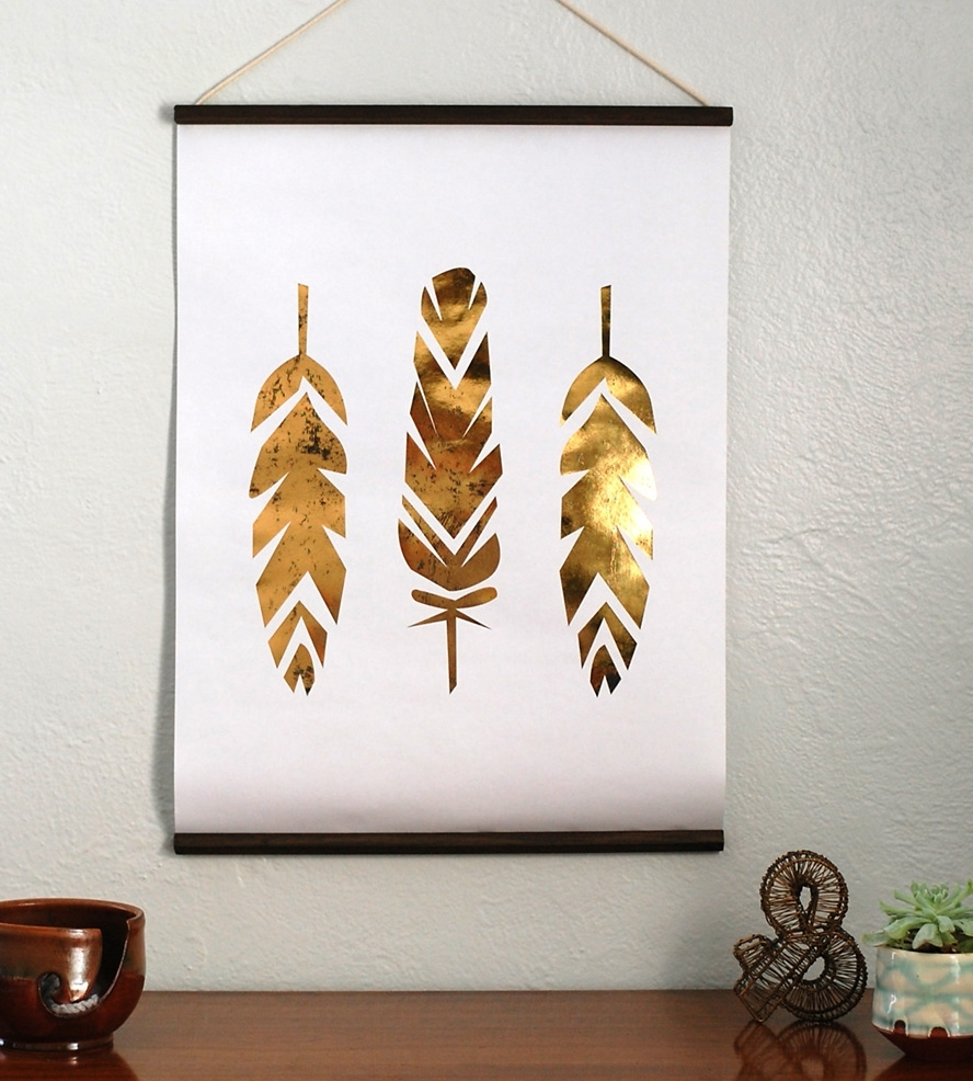 Gold Foil Wall Art Throughout 2018 Fine Design Gold Leaf Wall Art Foil Feather Hanging Pieces Cristin (View 8 of 20)