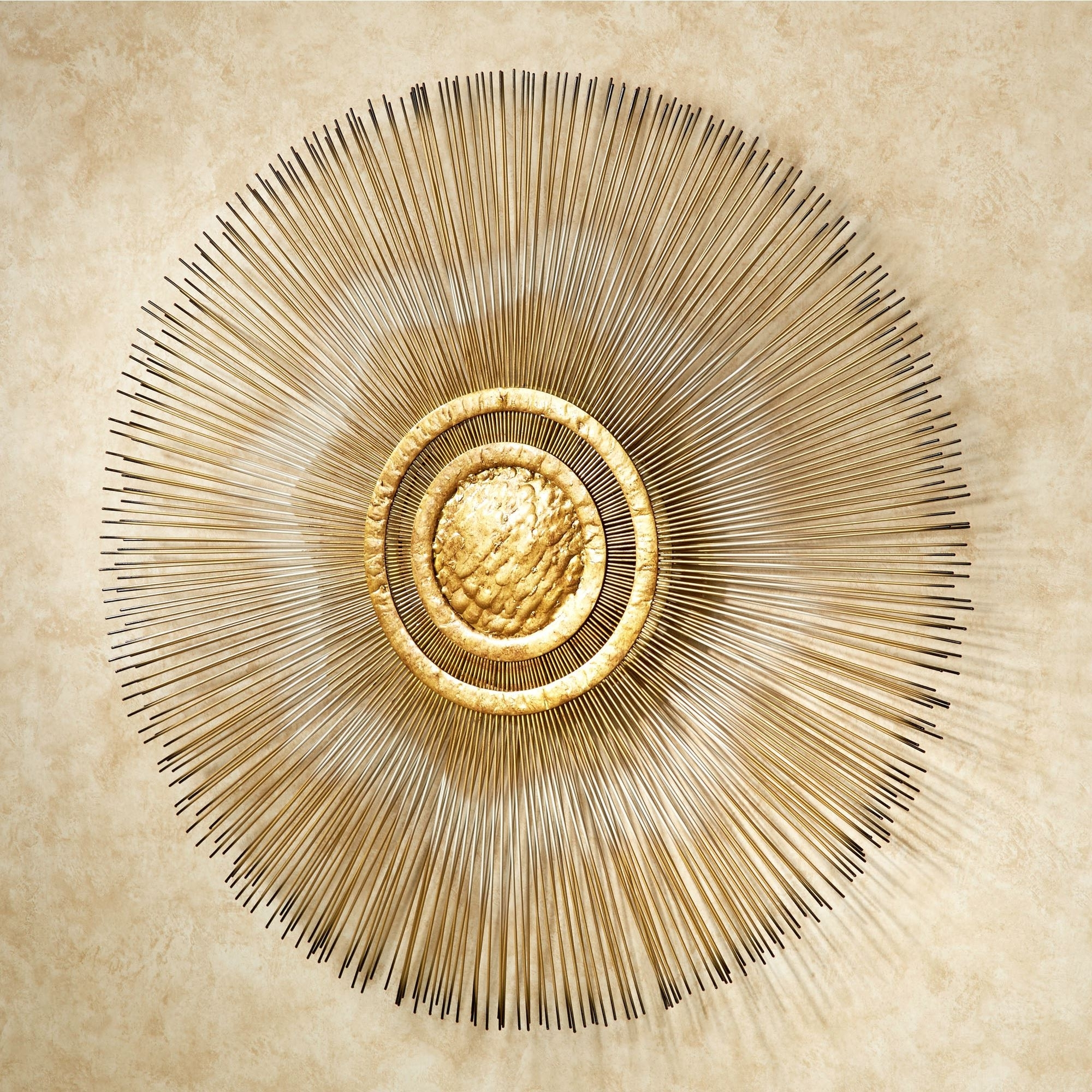 Gold Metal Wall Art Intended For Fashionable Sunburst Metal Wall Sculpturejasonw Studios (View 3 of 15)