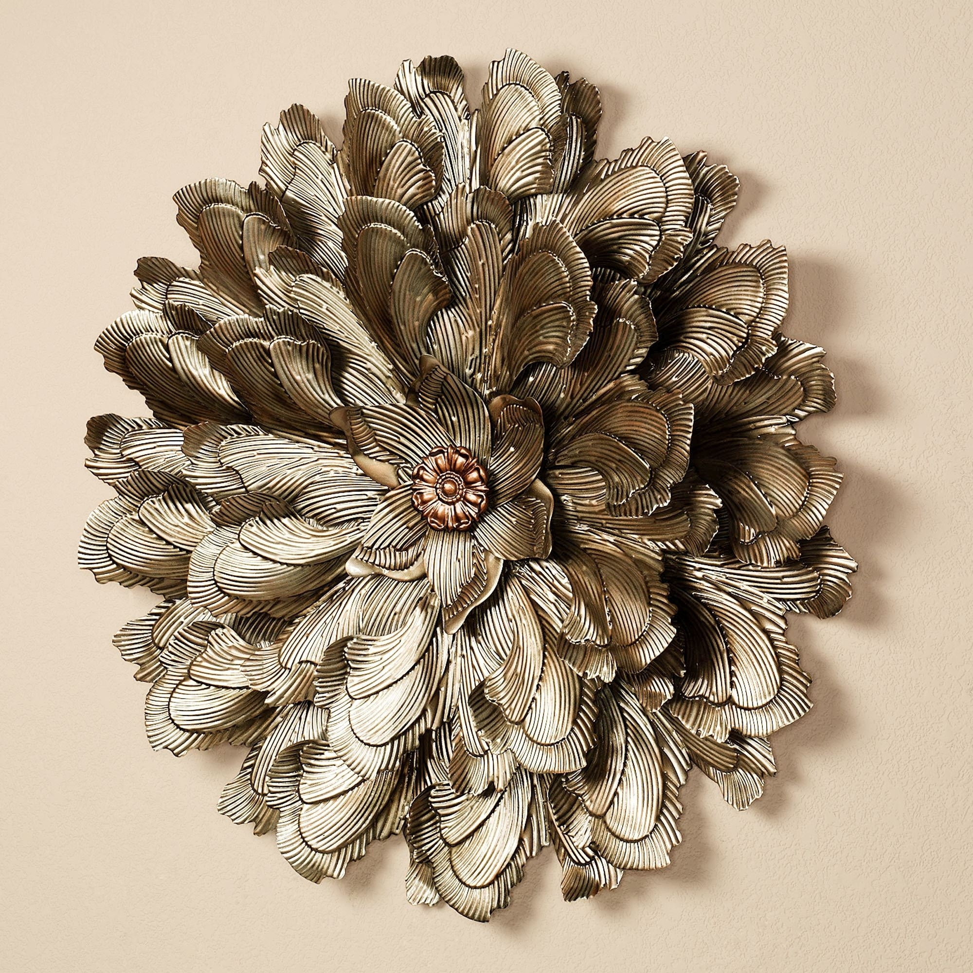 Gold Metal Wall Art Pertaining To Favorite Delicate Flower Blossom Metal Wall Sculpture (View 4 of 15)