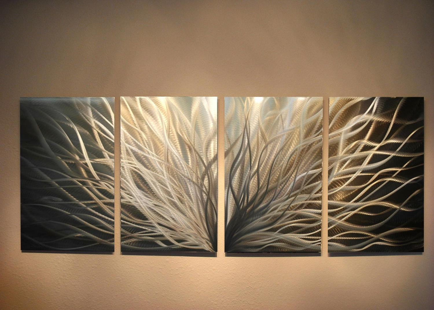 Gold Metal Wall Art With Most Up To Date Abstract Metal Wall Art  Radiance Gold Silver  Contemporary Modern (Gallery 13 of 15)