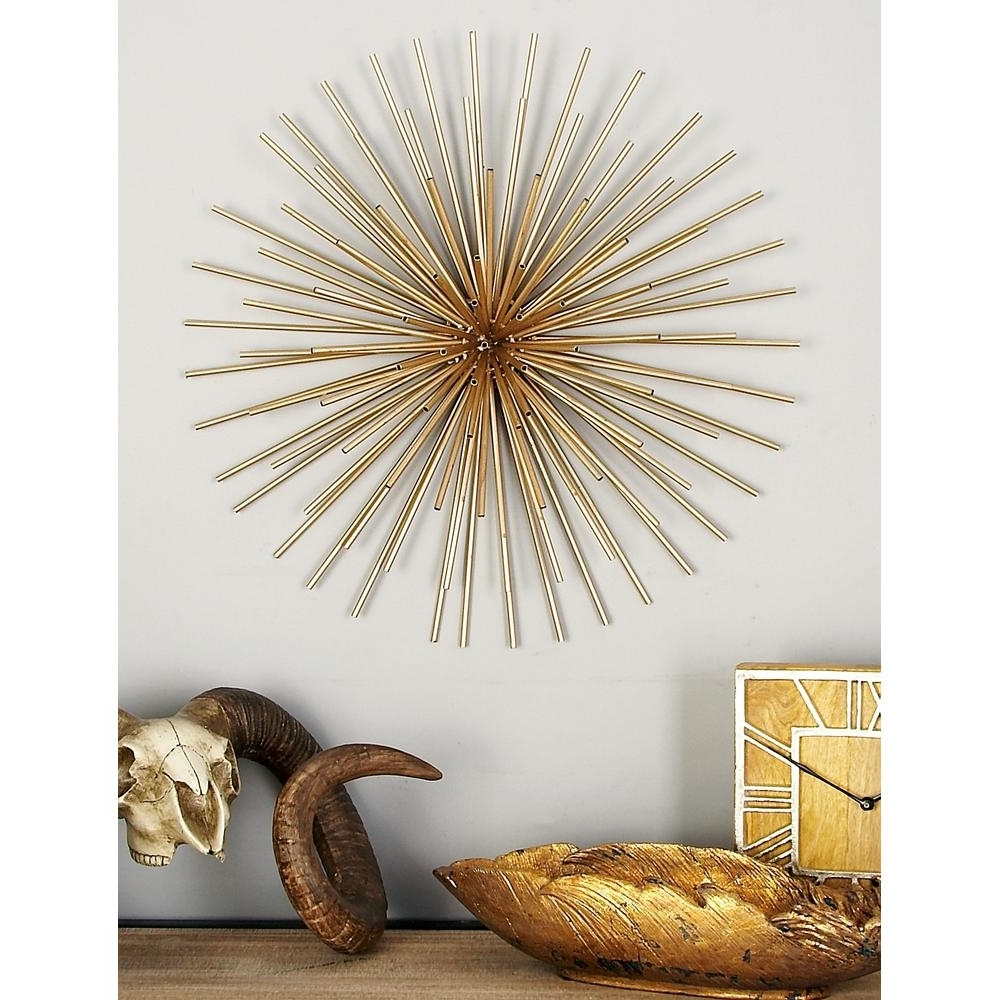 Gold Wall Art Throughout Most Popular Litton Lane Iron Metallic Gold Round Spiked Wall Decor (Set Of 3 (Gallery 13 of 15)