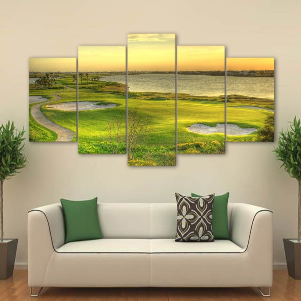 Golf Canvas Wall Art Pertaining To Most Popular Abstract Painting Wall Art Modular Poster 5 Panel Golf Course Frame (Gallery 11 of 20)
