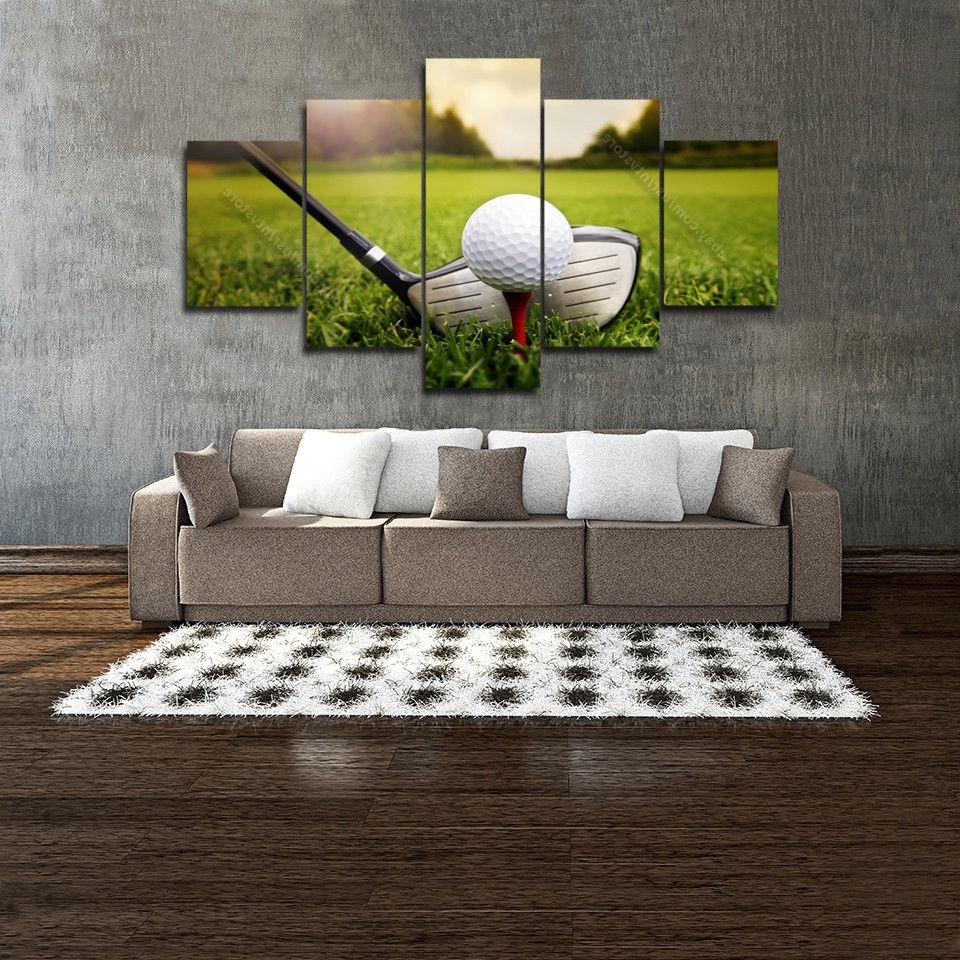 Golf Canvas Wall Art Regarding Fashionable Golf Wall Art Decor 5 Panel Canvas Home Living Room Club Ball (Gallery 20 of 20)