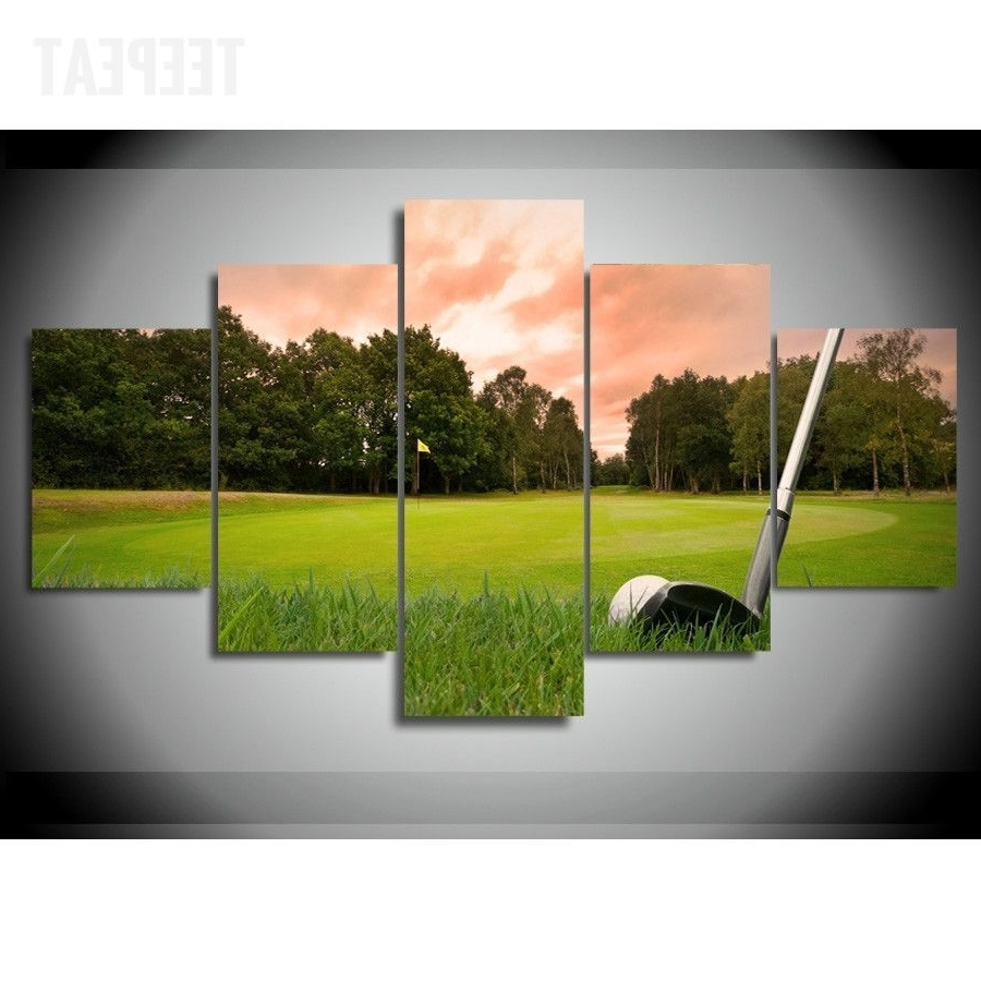 Golf Canvas Wall Art Throughout Latest Golf Course V4 Painting – 5 Piece Canvas (View 15 of 20)
