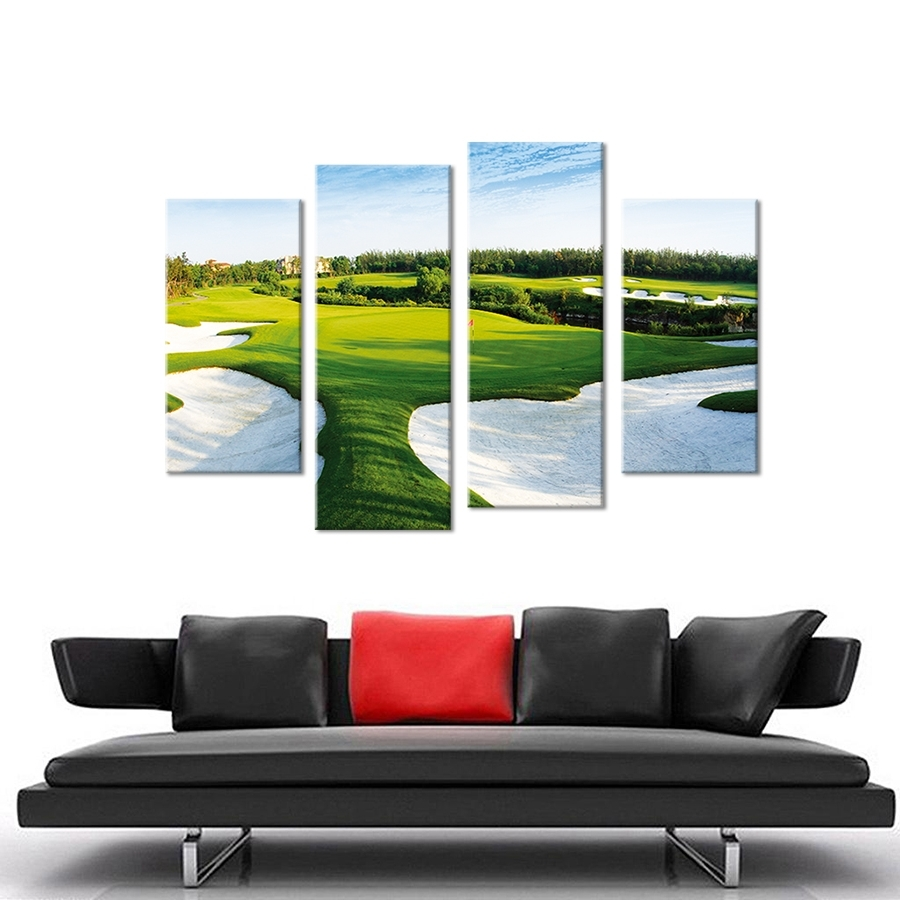 Golf Canvas Wall Art Within Well Liked Beautiful Golf Course Wall Painting Print On Canvas For Home Decor (View 2 of 20)