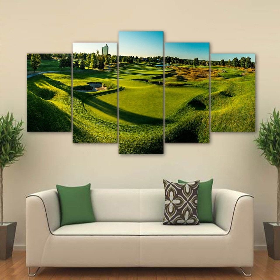 Golf Course Panorama View 5Pcs Painting Printed Canvas Wall Art Home Inside Well Known Golf Canvas Wall Art (View 18 of 20)