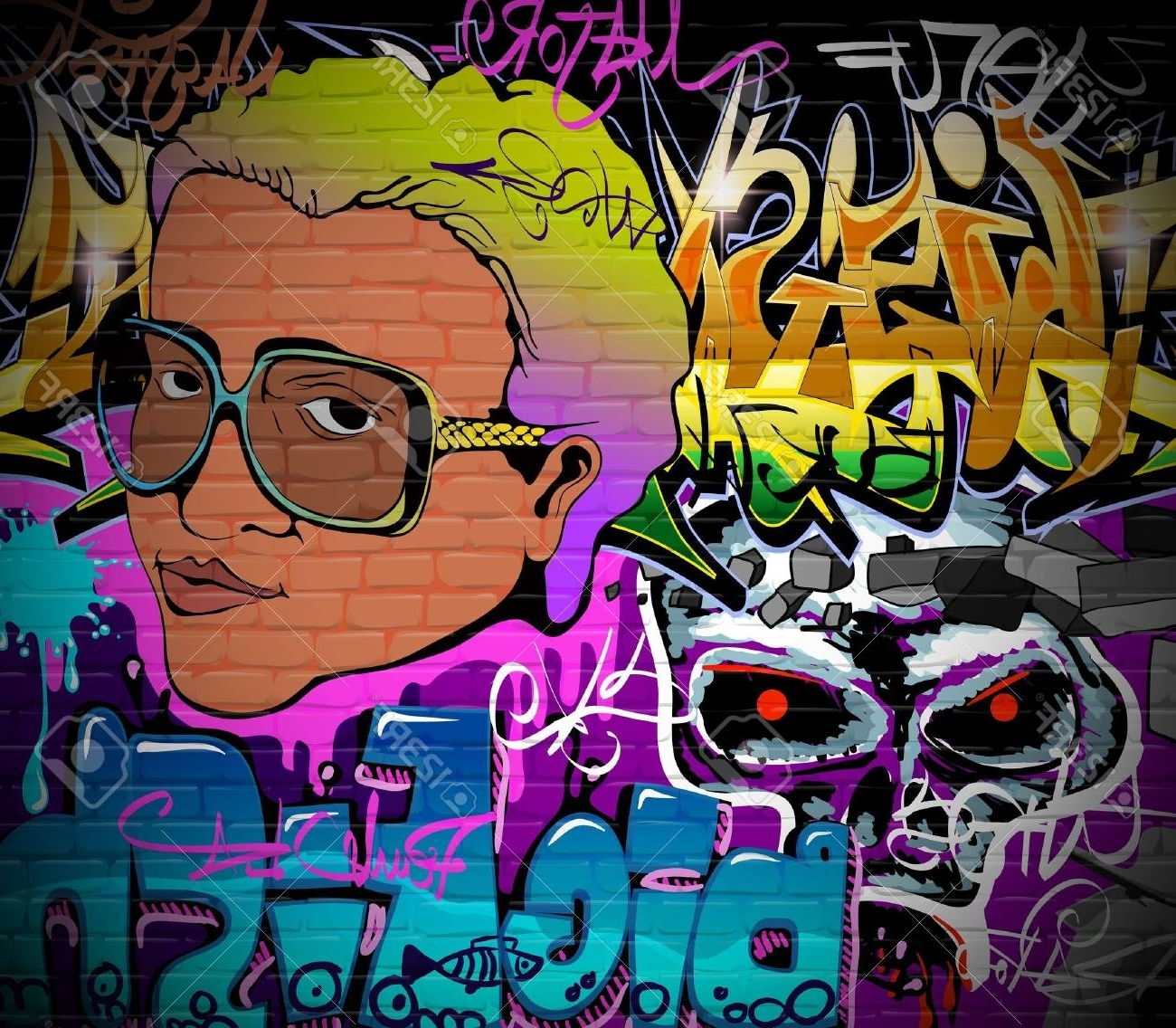 Graffiti Wall Urban Art Background Grunge Hip Hop Artistic Design Intended For Best And Newest Hip Hop Wall Art (View 4 of 15)