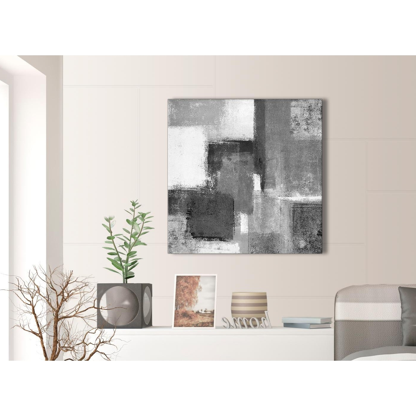 Gray Canvas Wall Art With Most Popular Black White Grey Abstract Office Canvas Wall Art Decorations 1S368L (View 8 of 20)