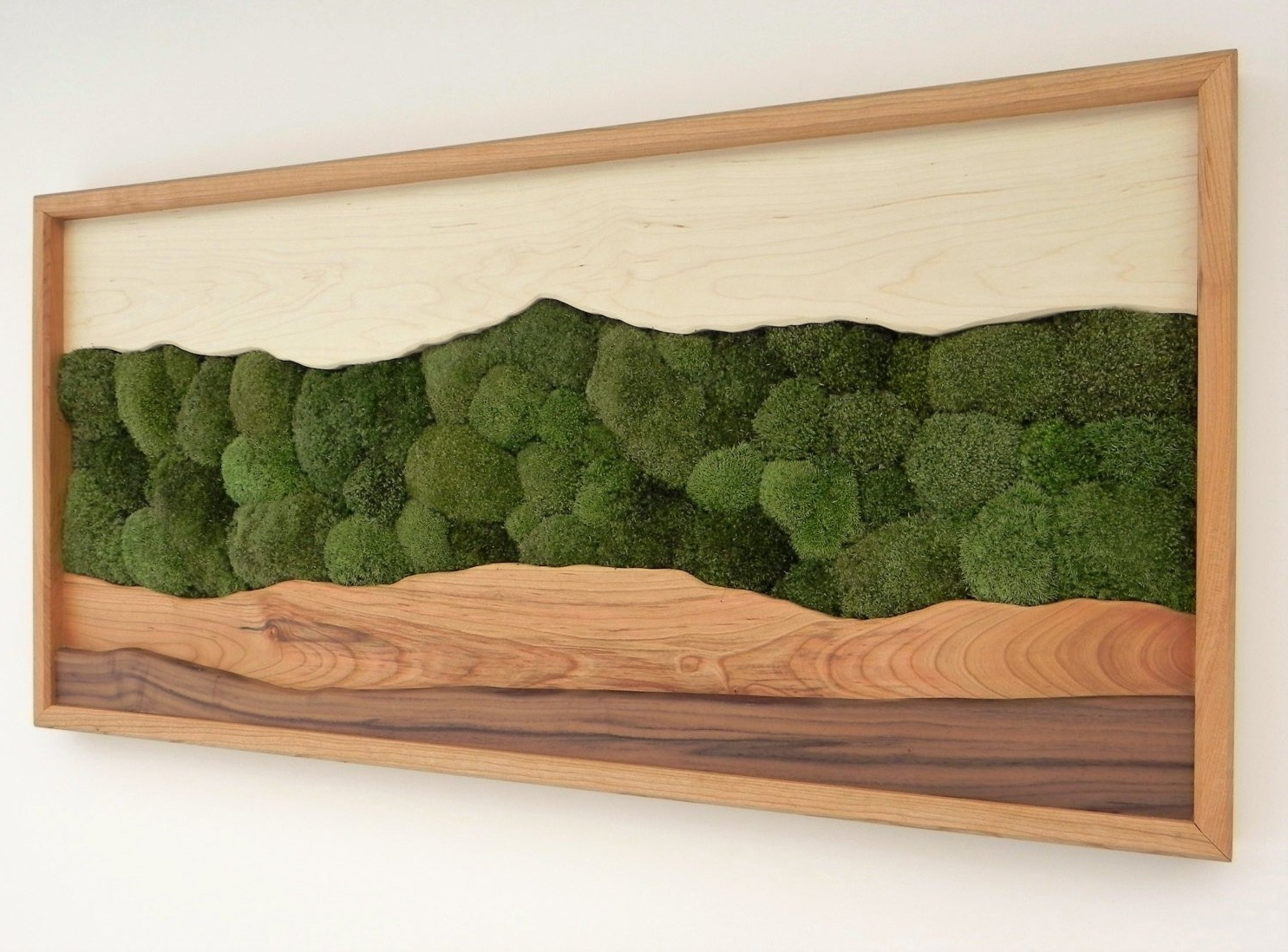 Green Mountain Moss Wall Art /sugar Maple, Cherry, Walnut, Preserved For Popular Moss Wall Art (Gallery 18 of 20)