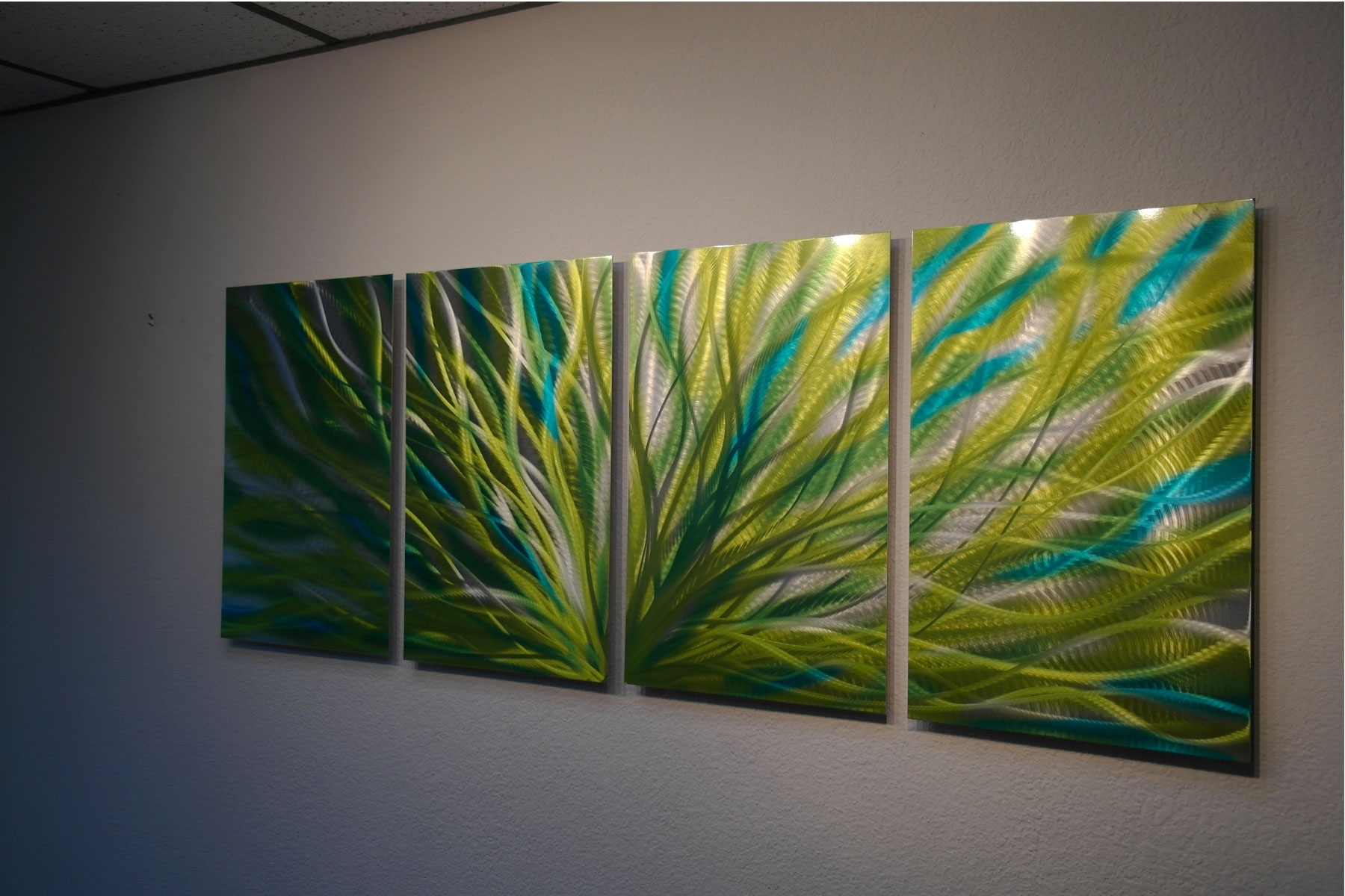 Green Wall Art With Famous Radiance Cyan Chartreuse – Abstract Metal Wall Art Contemporary (View 18 of 20)