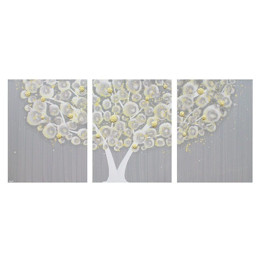 Grey Wall Art With Most Current Best Wall Art Design Ideas Three Separated Canvas Yellow And Grey Of (View 10 of 20)
