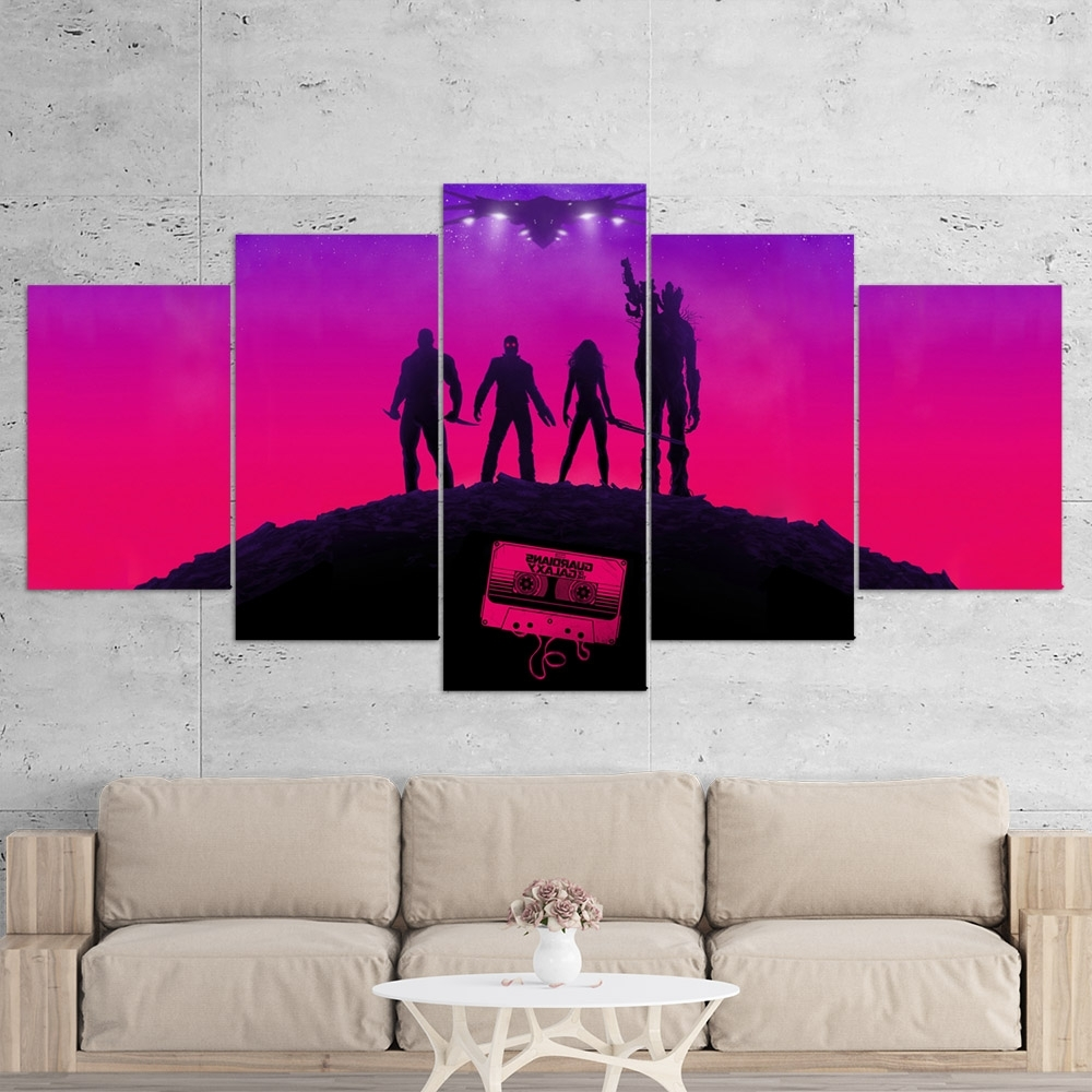 Guardians Of The Galaxy 02 – 5 Piece Canvas Wall Art Gaming Canvas For Fashionable 5 Piece Wall Art (View 12 of 20)