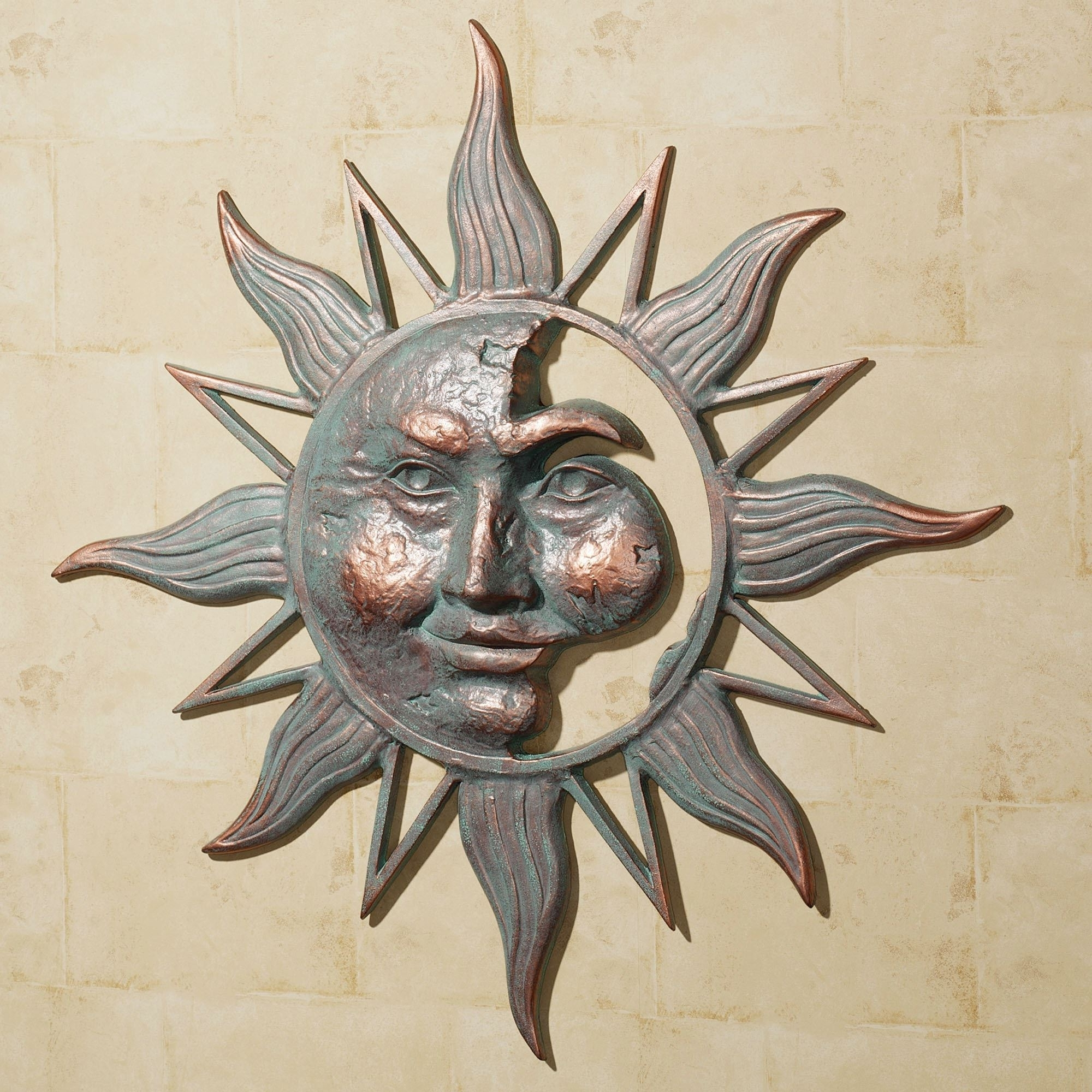 Half Face Sun Indoor Outdoor Metal Wall Art Throughout Widely Used Outdoor Sun Wall Art (Gallery 2 of 15)