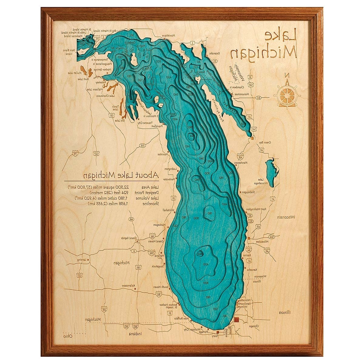 Hand Crafted Lake Map Topography Art (View 5 of 20)