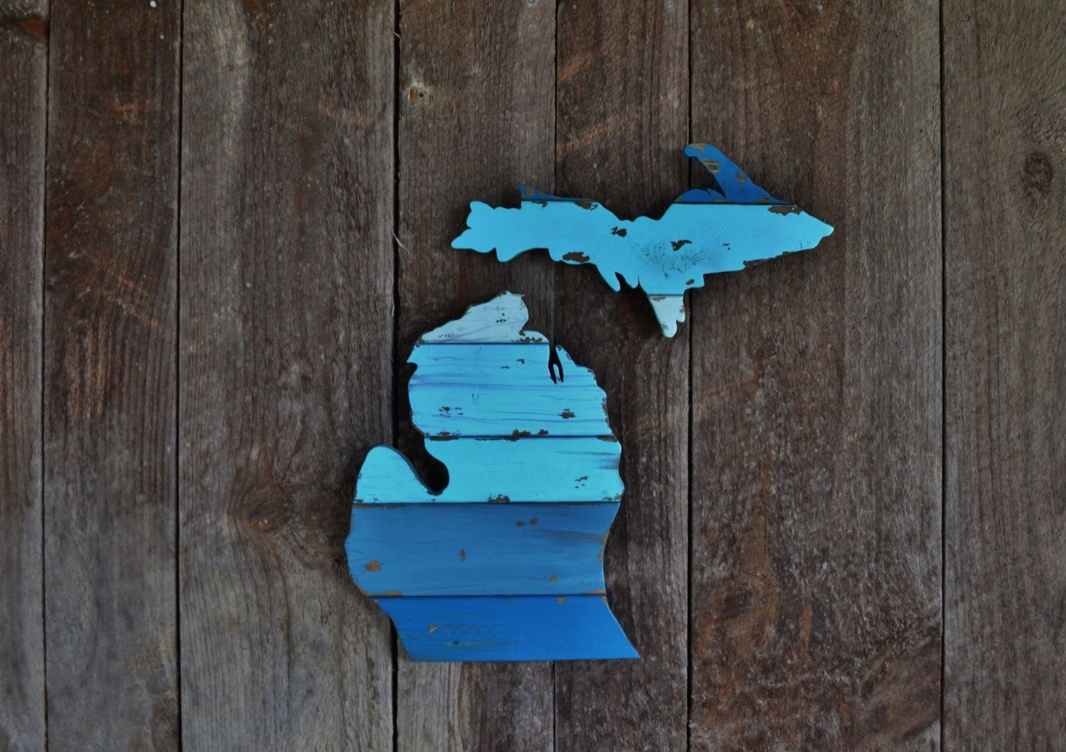 Hand Cut Wooden Michigan Wall Art: The Lelandthewoodnwall On In Current Michigan Wall Art (View 6 of 20)