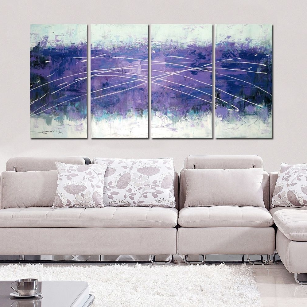 Hand Painted Cloudy Purple Abstract 4 Panel Wall Art 1214 Within Fashionable Overstock Wall Art (View 13 of 20)