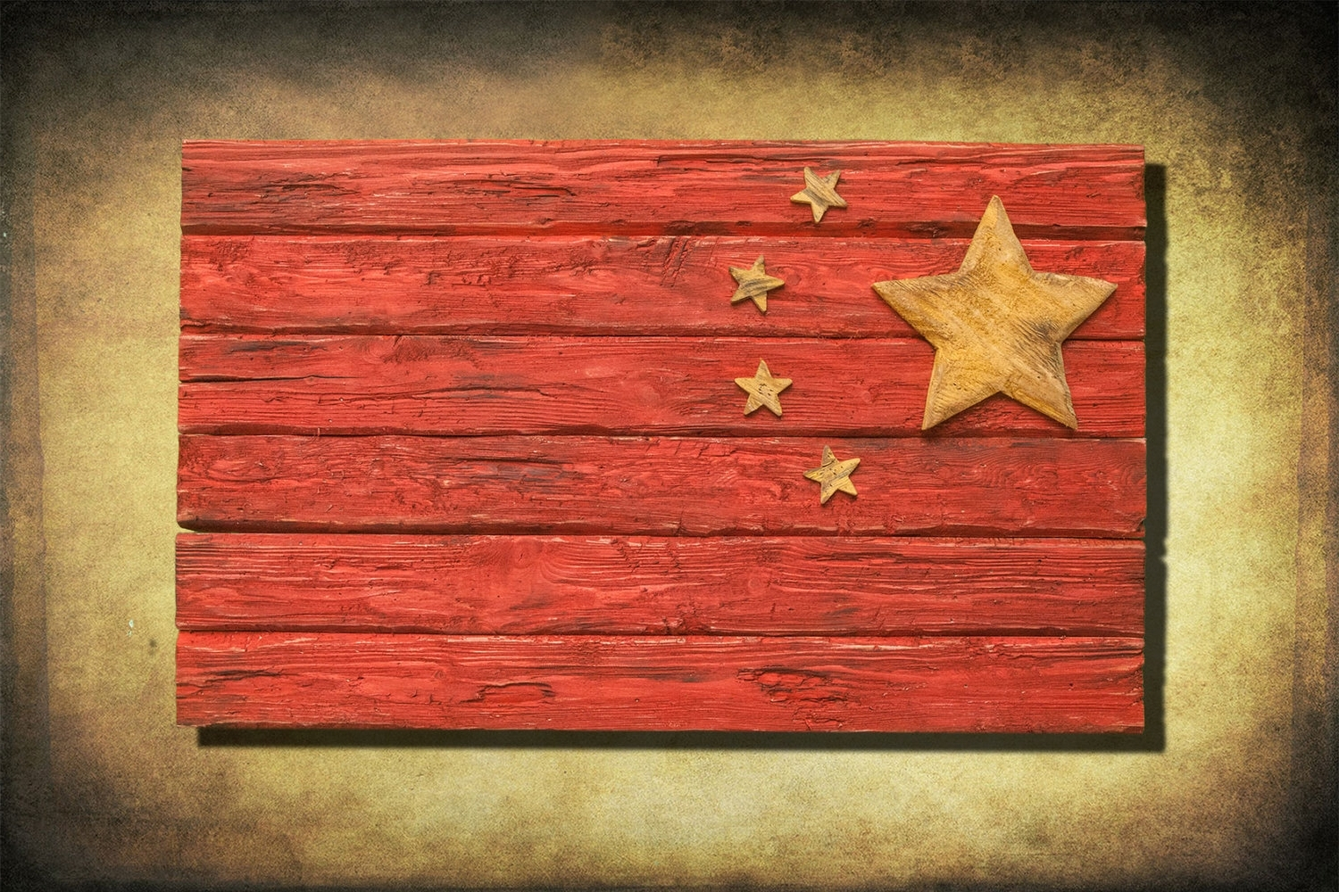 Handmade, Distressed Wooden Chinese Flag, Vintage, Art, Distressed In Fashionable Chinese Wall Art (Gallery 16 of 20)