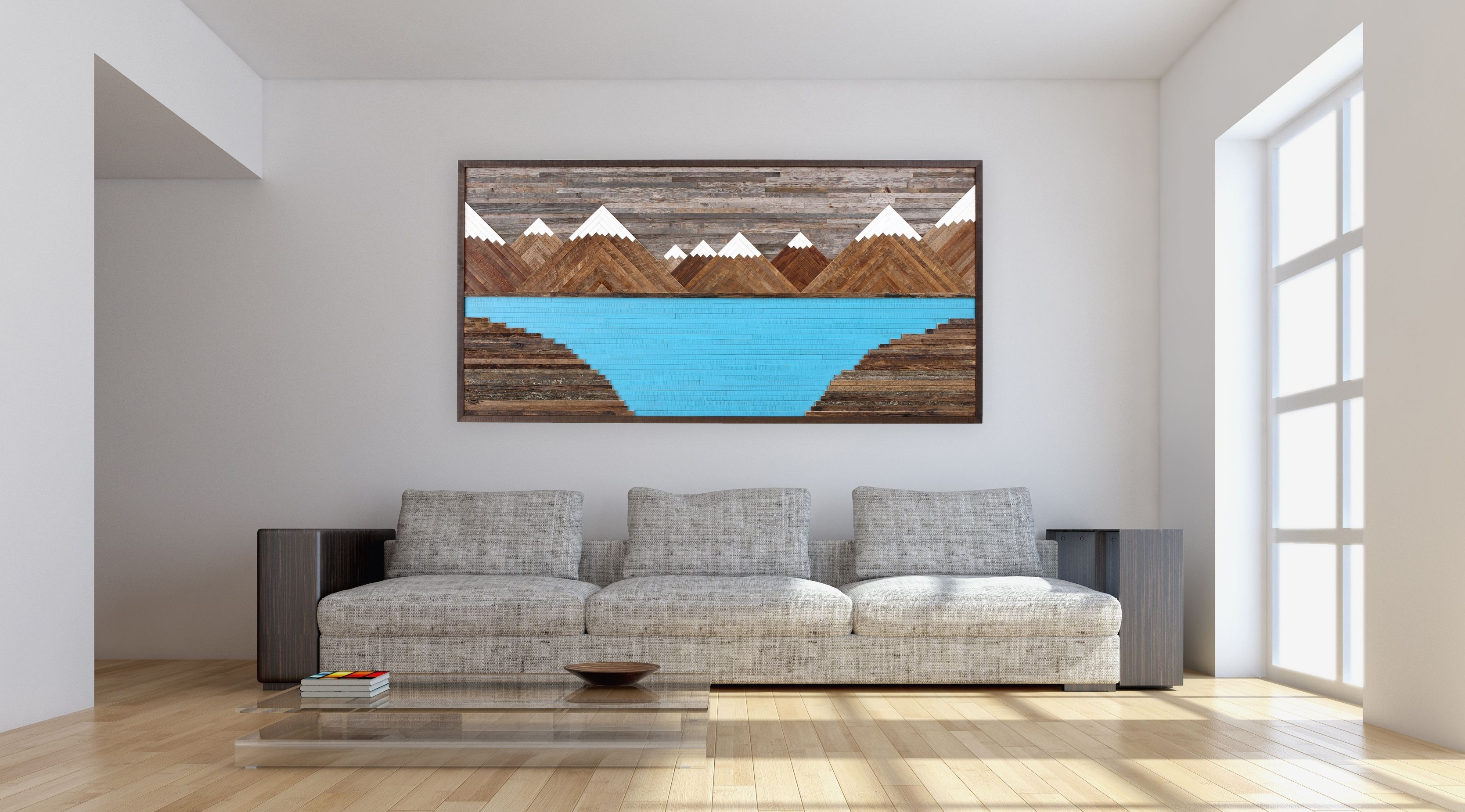 Handmade Glacier Mountain Landscape, Wood Wall Art, Reclaimed Wood Inside Most Popular Rustic Wall Art (View 12 of 15)