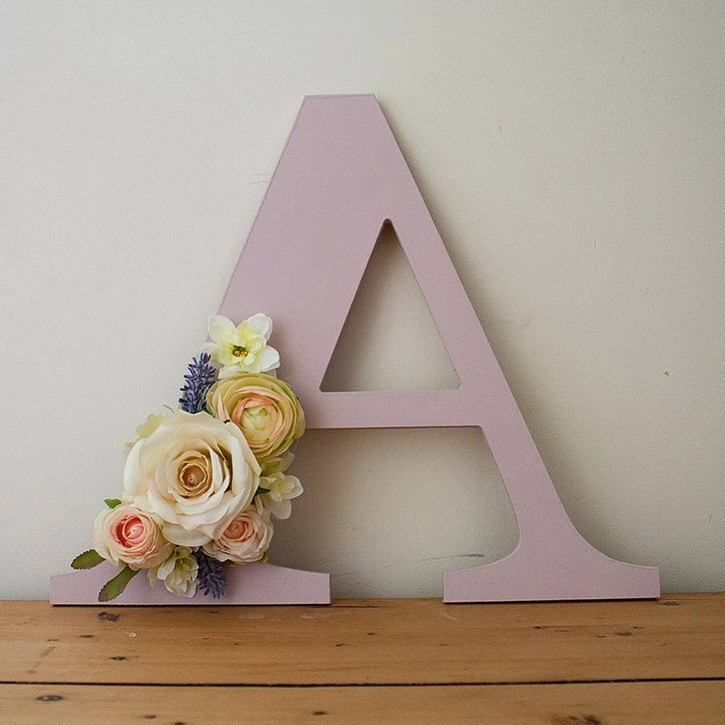 Handmade Painted Flower Letter Wall Arttwine & Bloom With Regard To Famous Letter Wall Art (Gallery 16 of 20)