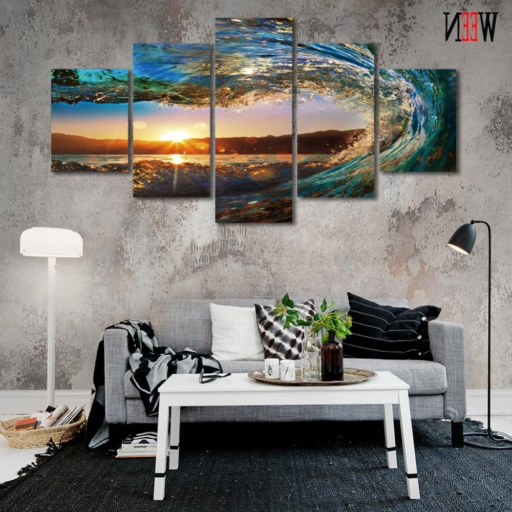 Hd Golf Canvas Wall Art Moderne 5 Stuk Zee Golven Pictures Voor Home Within Recent Golf Canvas Wall Art (Gallery 17 of 20)