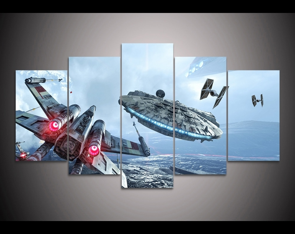 Hd Print 5 Pieces Canvas Wall Art Millennium Falcon X Wing Star Wars Within Well Liked Star Wars Wall Art (View 5 of 15)