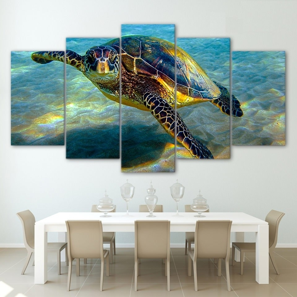 Hd Printed 5 Piece Wall Art Canvas Deep Ocean Turtles Canvas With Well Known Sea Turtle Canvas Wall Art (View 6 of 20)