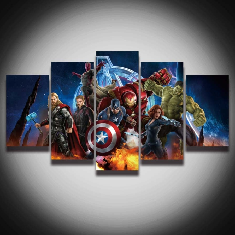 Hd Printed Avengers Super Hero Hulk Captain America Iron Man With Regard To Most Up To Date Captain America Wall Art (View 9 of 15)