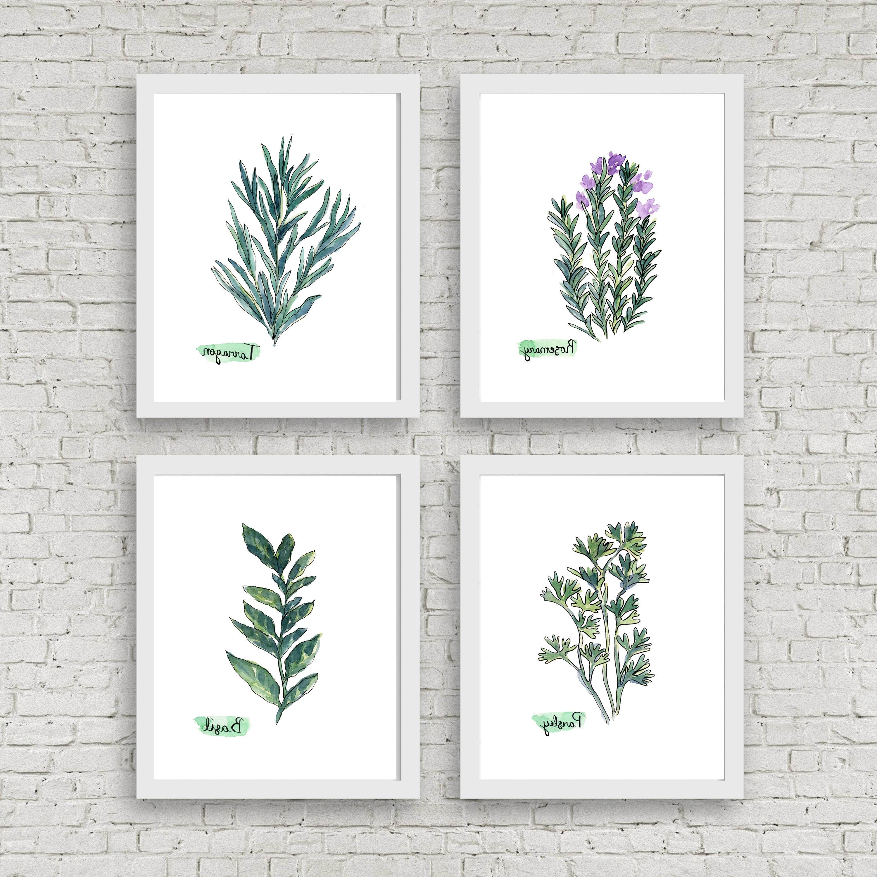 Herb Wall Art Intended For Current Watercolor Herb Print Set Of 4 Watercolor Green Botanical Prints (View 9 of 20)