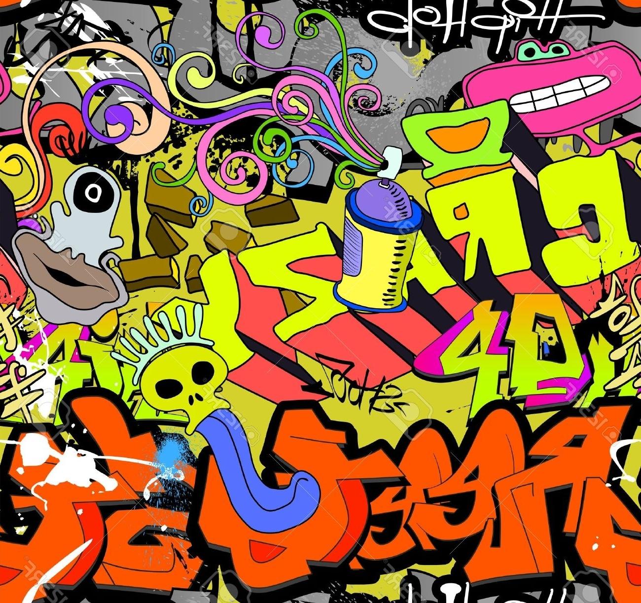 Hip Hop Wall Art Regarding 2017 Graffiti Wall Art Background Hip Hop Style De Motif Texture Homogène (View 2 of 15)