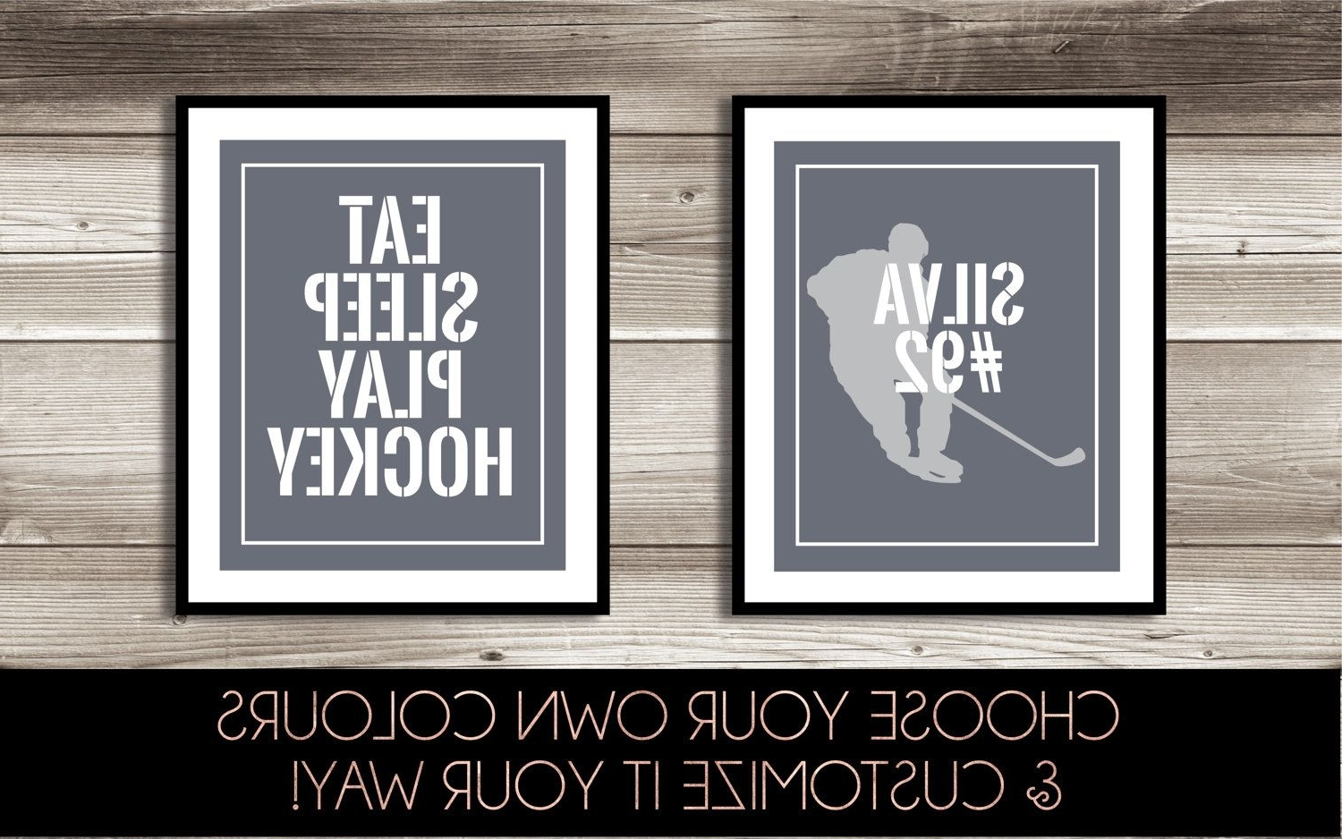 Hockey Wall Art, Boy's Hockey Bedroom Decor, Personalized Hockey Regarding Widely Used Hockey Wall Art (View 7 of 15)