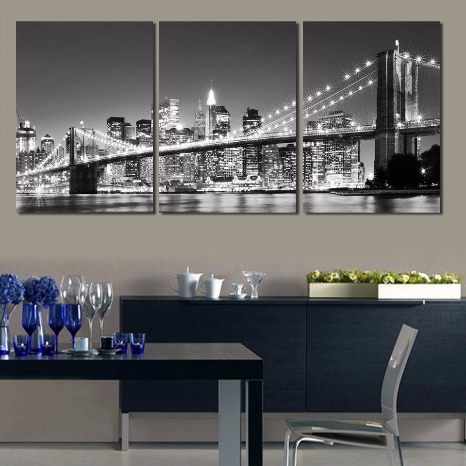Home Decor Print Canvas Frame 3 Panel City At Night Painting Wall In Favorite Nyc Wall Art (Gallery 7 of 20)