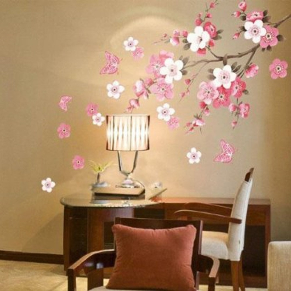 Home Decor Wall Art Regarding Trendy Sakura Flower Bedroom Room Vinyl Decal Art Diy Home Decor Wall (View 13 of 20)