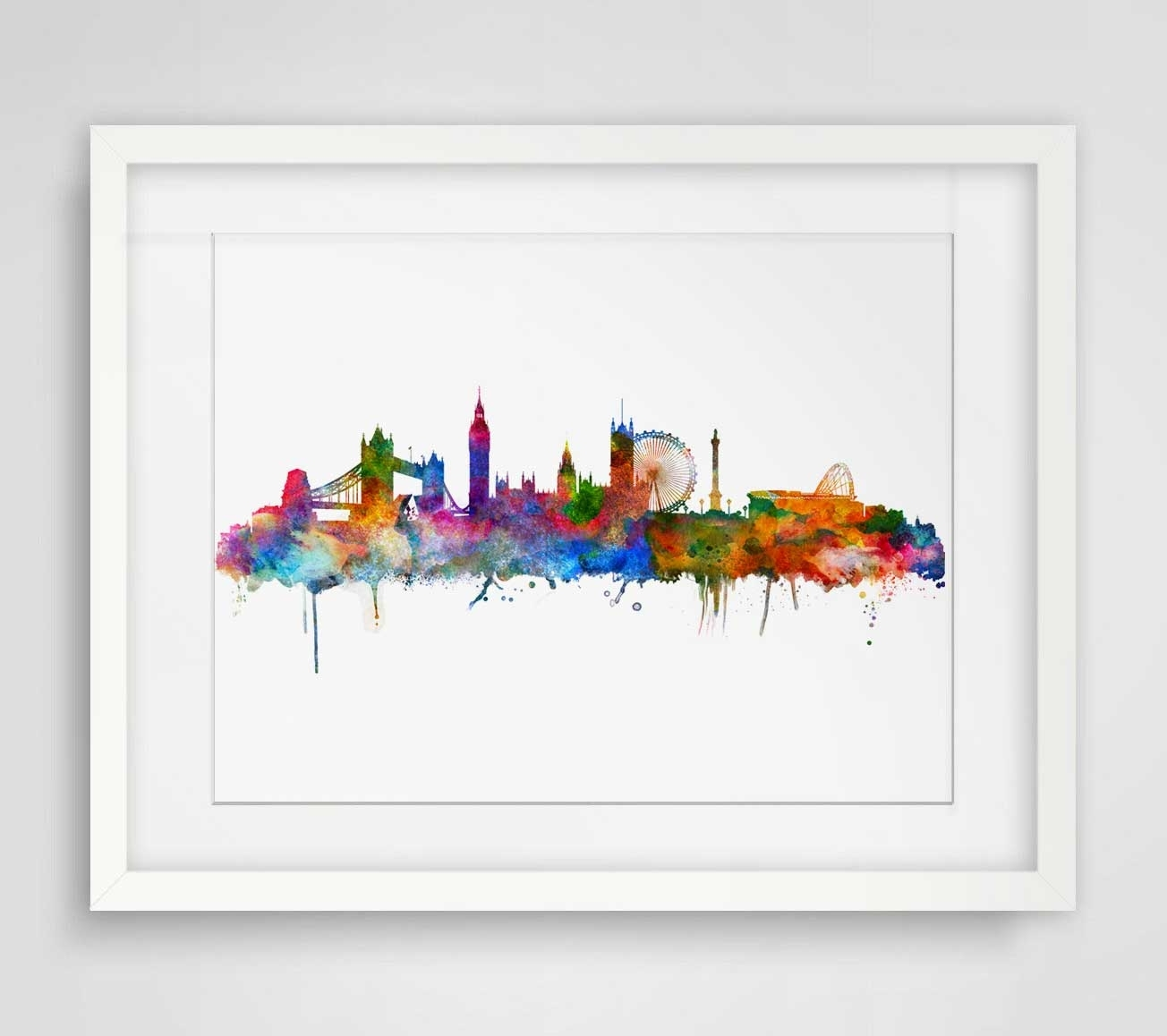 Home Wall Art Throughout Well Known London Watercolor Skyline City Poster Map Wall Art Skyline Poster (View 8 of 20)