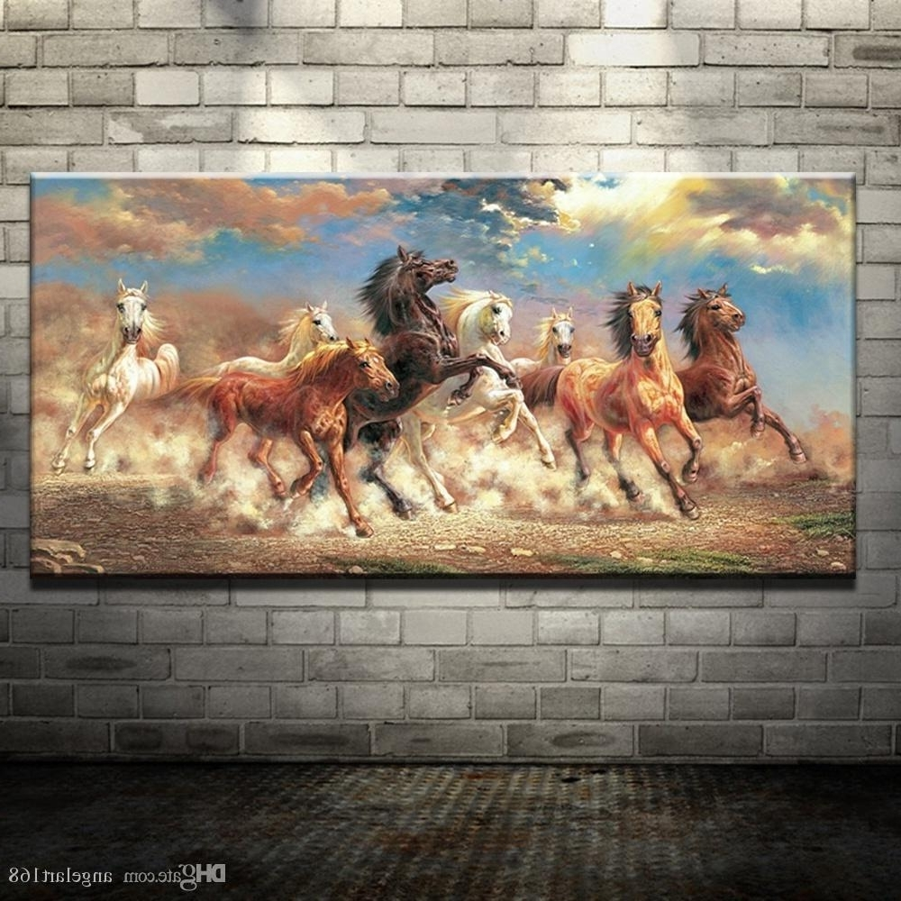 Horses Wall Art Intended For 2018 Modern Oil Painting No Frame Abstract Horses Canvas Animal Giclee (Gallery 13 of 20)