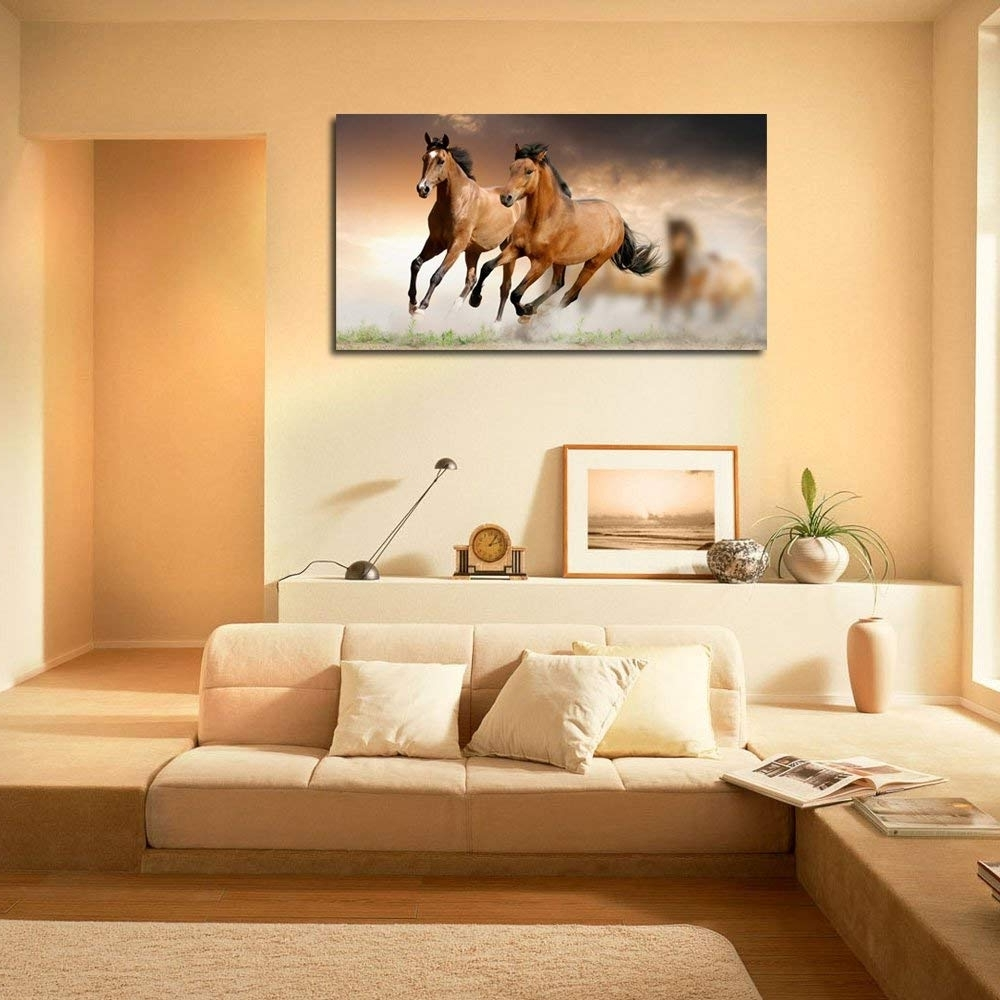 Horses Wall Art With Preferred 999Store Canvas Framed Running Horses Printed Home Decor Like Modern (View 8 of 20)
