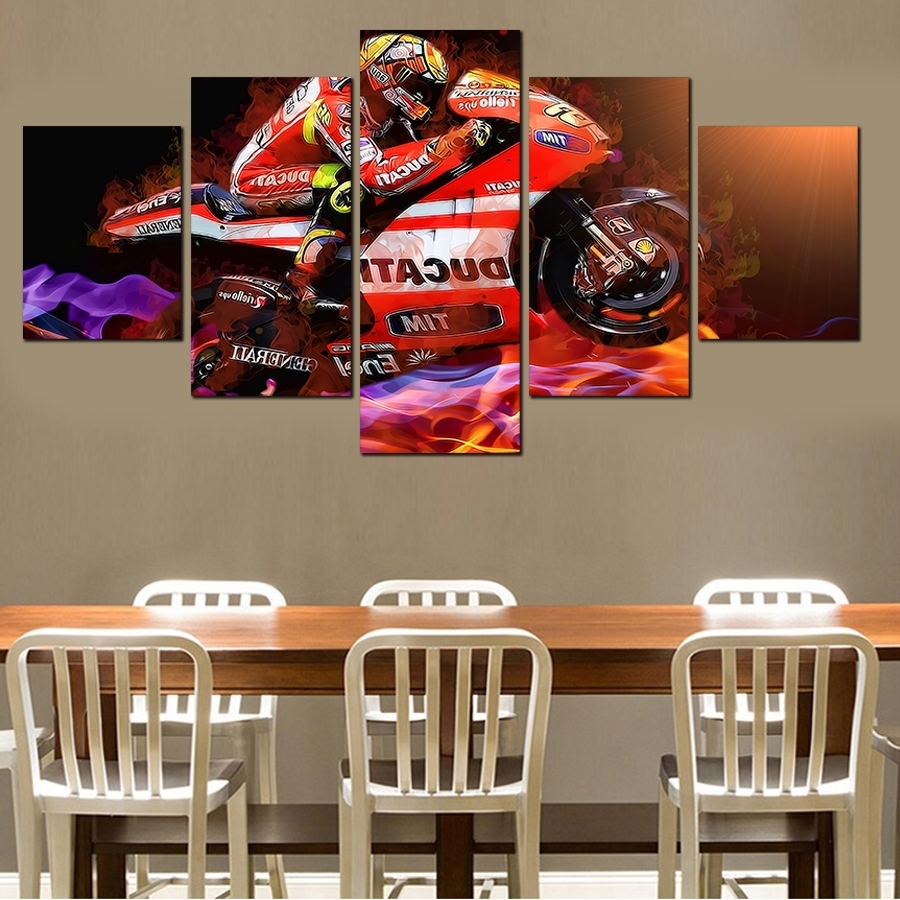 Hot Sell 5 Pieces Popular Modern Cool Motorcycle Wall Painting Home Within 2017 Motorcycle Wall Art (View 18 of 20)