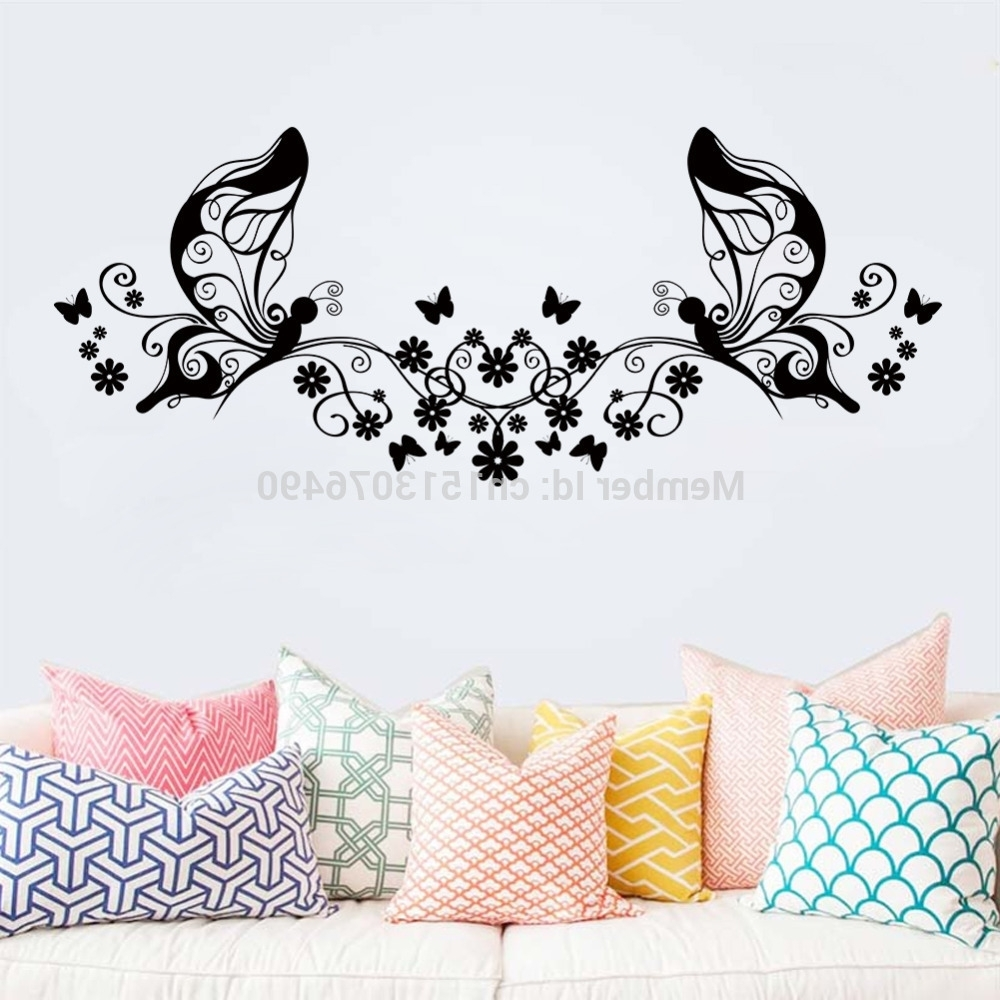 Hot Sellings 114*46Cm Classical Black Flower Butterfly Wall Art Pertaining To Most Up To Date Butterfly Wall Art (View 9 of 15)