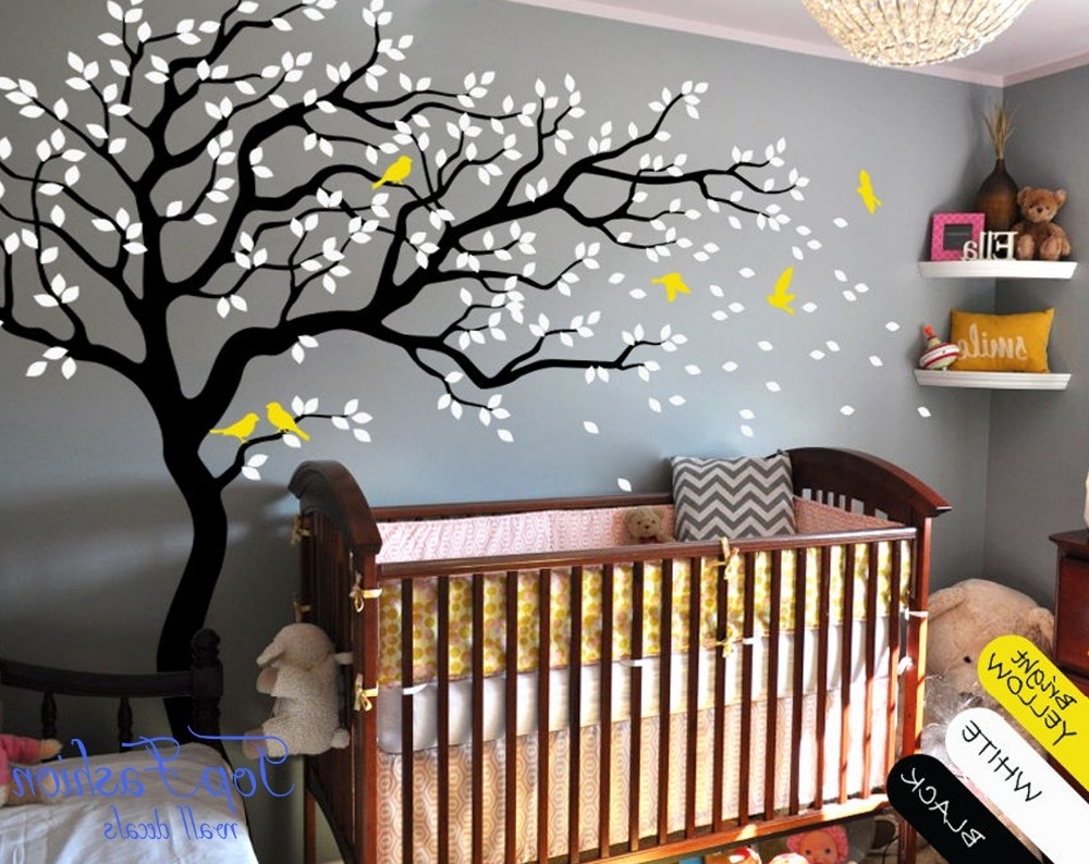 Huge White Tree Wall Decal Nursery Tree And Birds Wall Art Baby Kids Throughout Newest Baby Room Wall Art (View 13 of 20)