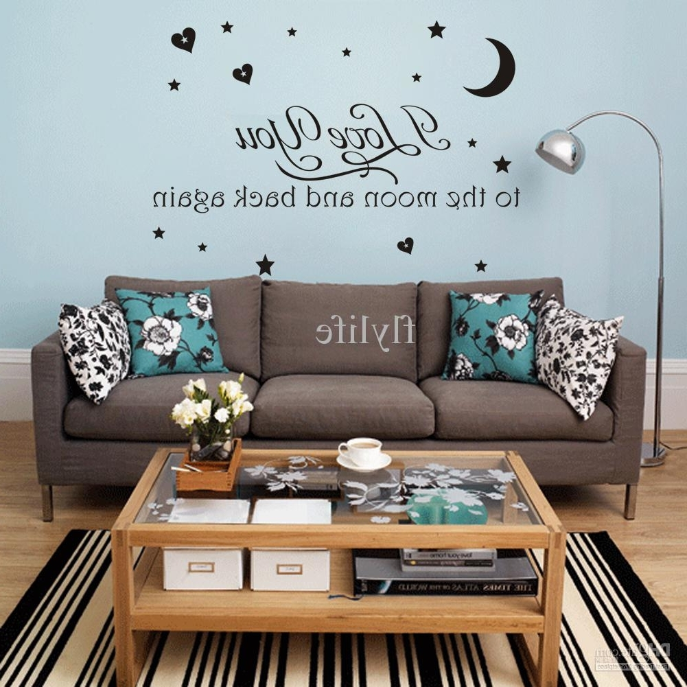 I Love You Moon And Back Again Vinyl Wall Stickers Quotes Home Decor For Most Recent I Love You To The Moon And Back Wall Art (View 5 of 20)