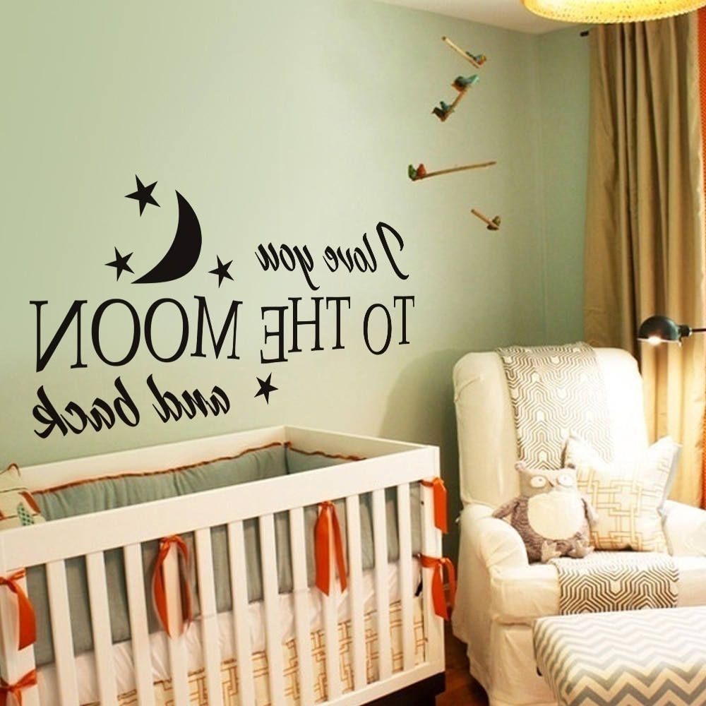 I Love You To The Moon And Back Romantic Love Vinyl Wall Decal In Most Popular I Love You To The Moon And Back Wall Art (View 6 of 20)