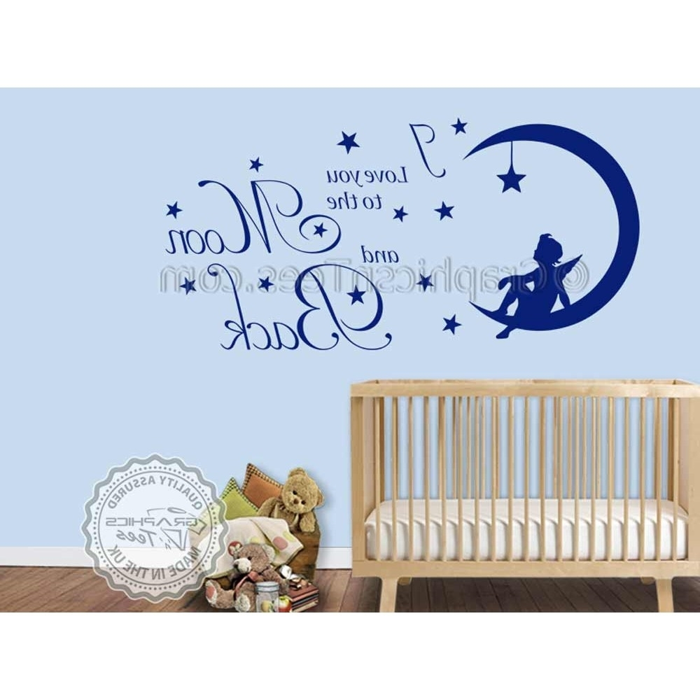 I Love You To The Moon And Back Wall Art Intended For Popular I Love You To The Moon And Back Wall Sticker Quote, Baby Boy Girl (View 9 of 20)