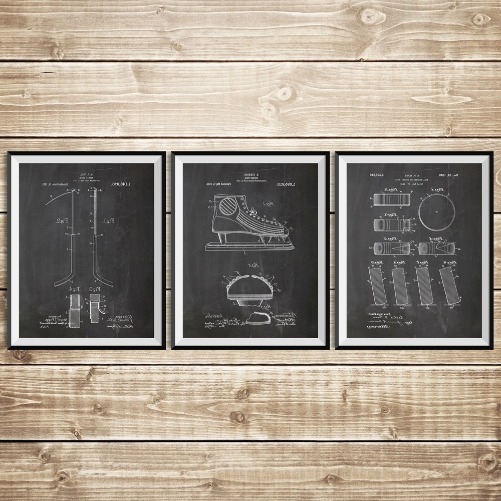 Ice Hockey Patent Posters Group Of 3, Hockey Stick, Hockey Decor Inside Current Hockey Wall Art (Gallery 11 of 15)