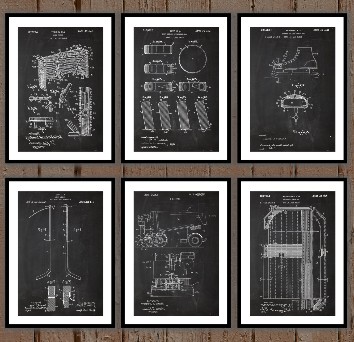 Ice Hockey Patent Print Set Of 6, Hockey Patent Prints, Hockey Pertaining To Most Recently Released Hockey Wall Art (View 9 of 15)